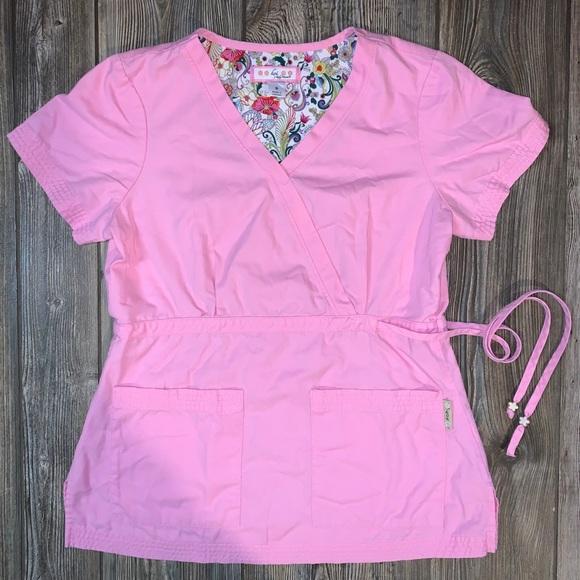 KOI Pink Scrubs Top